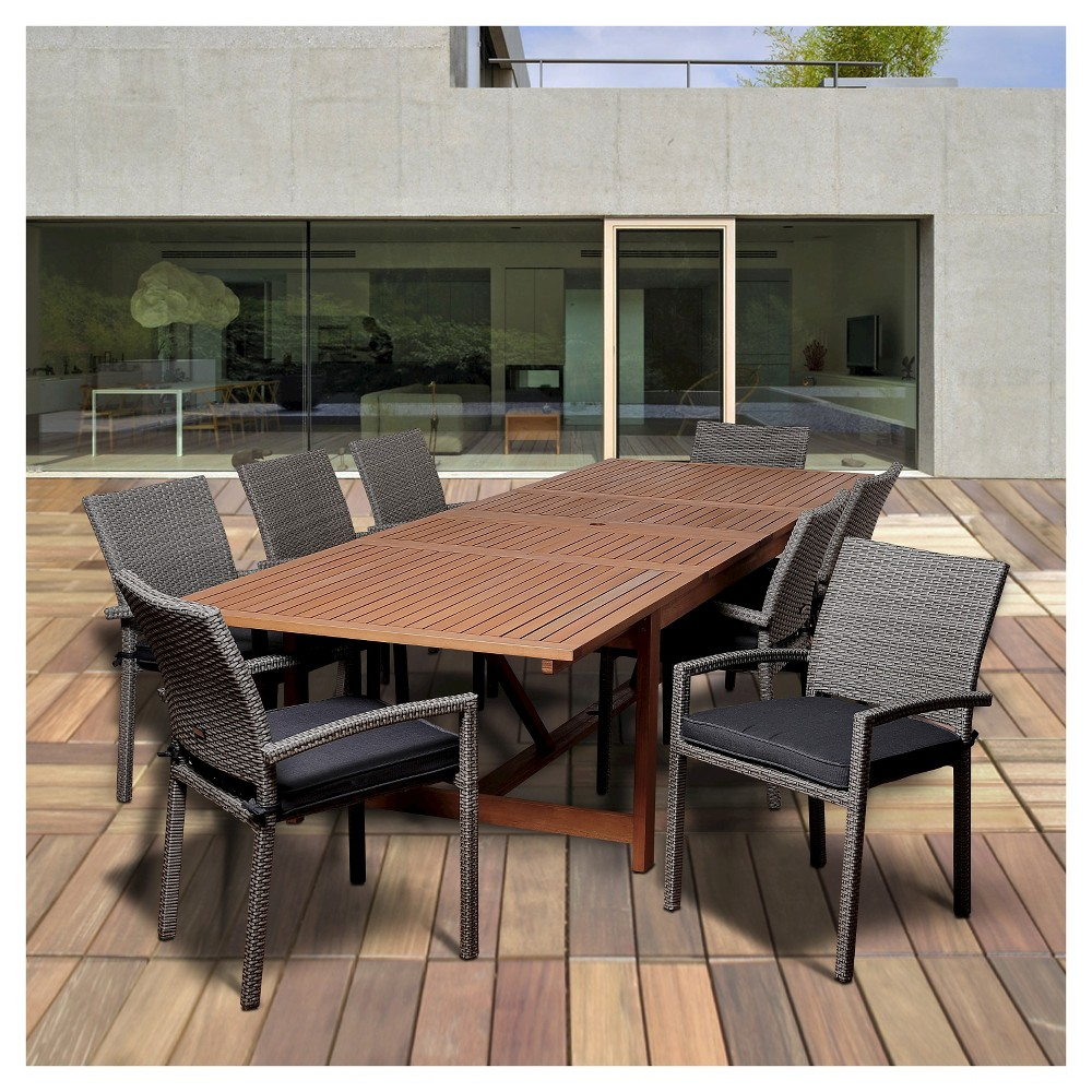 Wellington 9pc Eucalyptus/Wicker Extendable Rectangular Patio Dining Set - Brown
