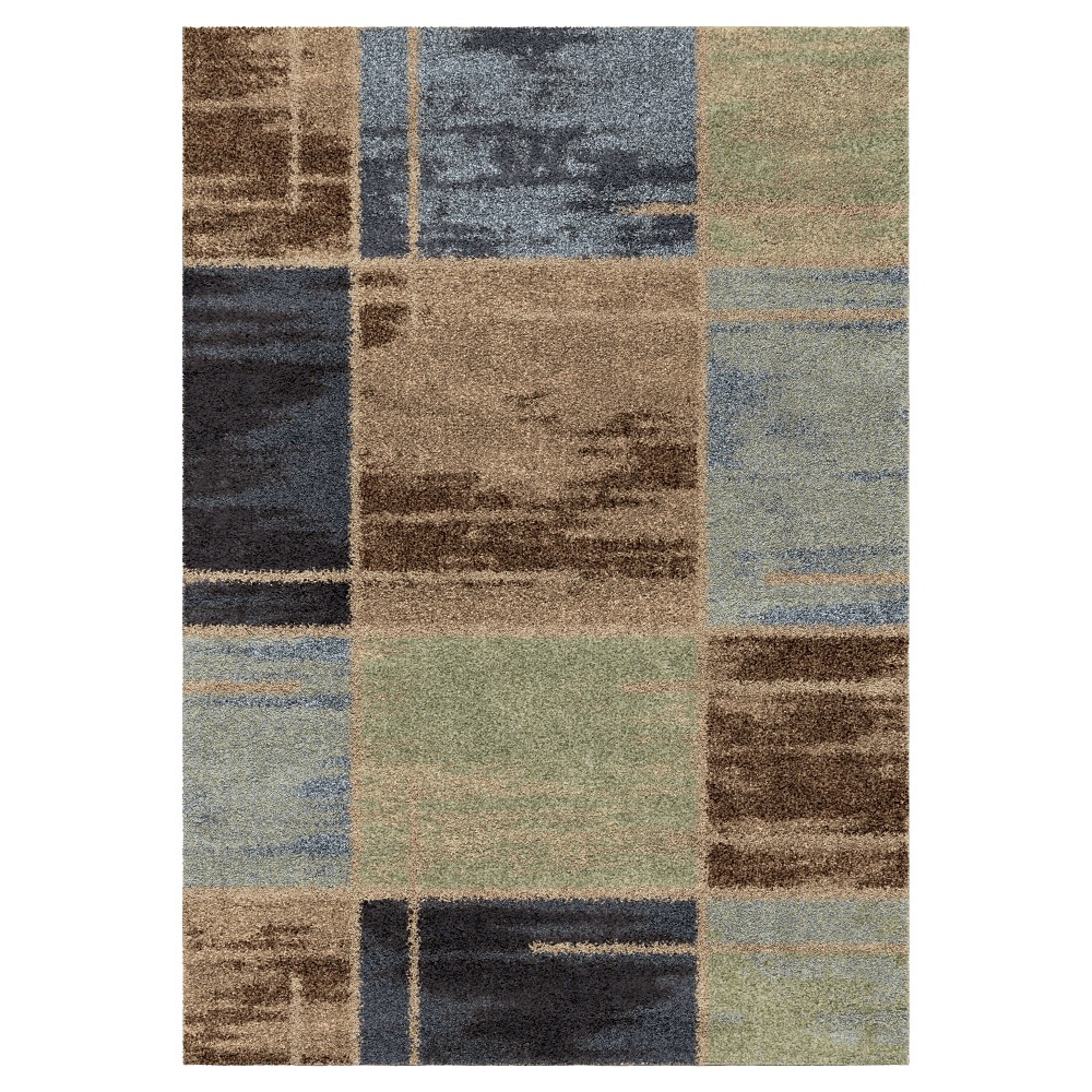 Blue Solid Woven Area Rug - (5'3