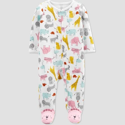 Baby Girls' Safari Interlock Footed Pajama - Just One You® made by carter's 9M