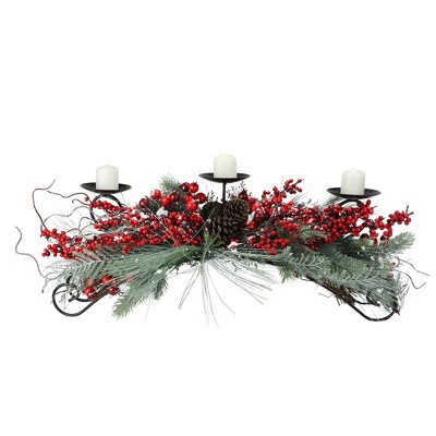 """Melrose 30"""" Frosted Pine Needle Christmas Candle Holder - Berry Red/Green"""