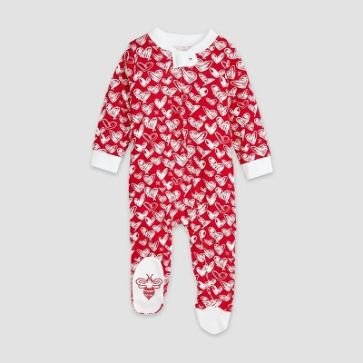 Burt's Bees Baby® Baby Girls' Valentine day Organic Cotton Sleep 'N Play Footed Pajama - Red 0-3M