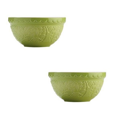 Mason Cash 40oz 2pk Earthenware Mixing Bowls Green