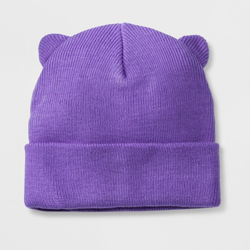 Girls' Cuffed Beanie - Cat & Jack™ Purple One Size - image 1 of 1