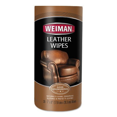 Weiman Leather Wipes, 7 x 8, 30/Canister, 4 Canisters/Carton 91CT
