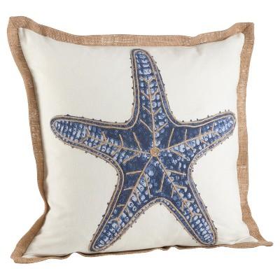 Navy Blue Star Fish Print Cotton Throw Pillow (20 )- Saro Lifestyle®