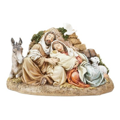 """Roman 9.5"""" Beige and Brown Restful Holy Family Christmas Tabletop Decor"""