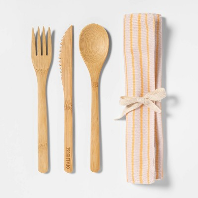 3pc Bamboo Utensil Set with Bag Peach/Cream Stripe - Opalhouse™