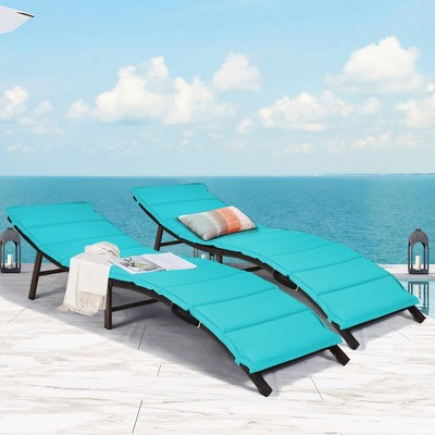Costway 2PCS Patio Rattan Folding Lounge Chair Chaise Double Sided Cushion Turquoise