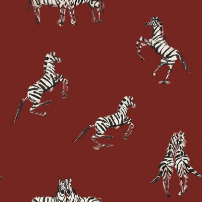 Tempaper Zebras In Love Peel and Stick Wallpaper Love Red