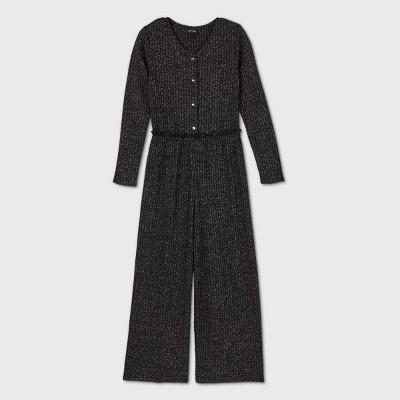 Girls' Henley Knit Jumpsuit - art class™ Black