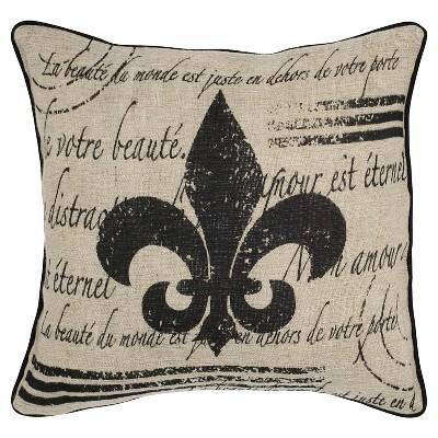 """18""""x18"""" Vintage Fleur De Lis Cotton and Jute Throw Pillow Beige/Black - Rizzy Home"""