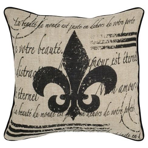 Beigeblack Vintage Fleur De Lis Cotton And Jute Throw Pillow 18