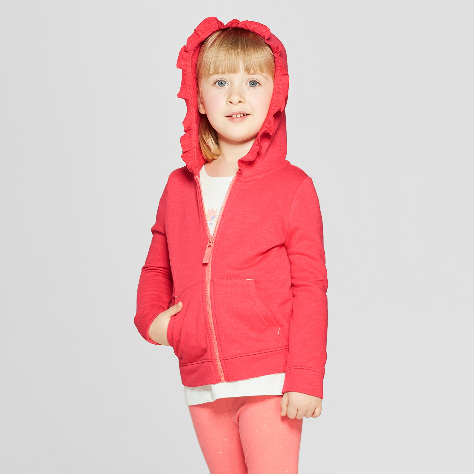 Toddler Girls' Hoodie Sweatshirt - Cat & Jack Coral 18M, Orange