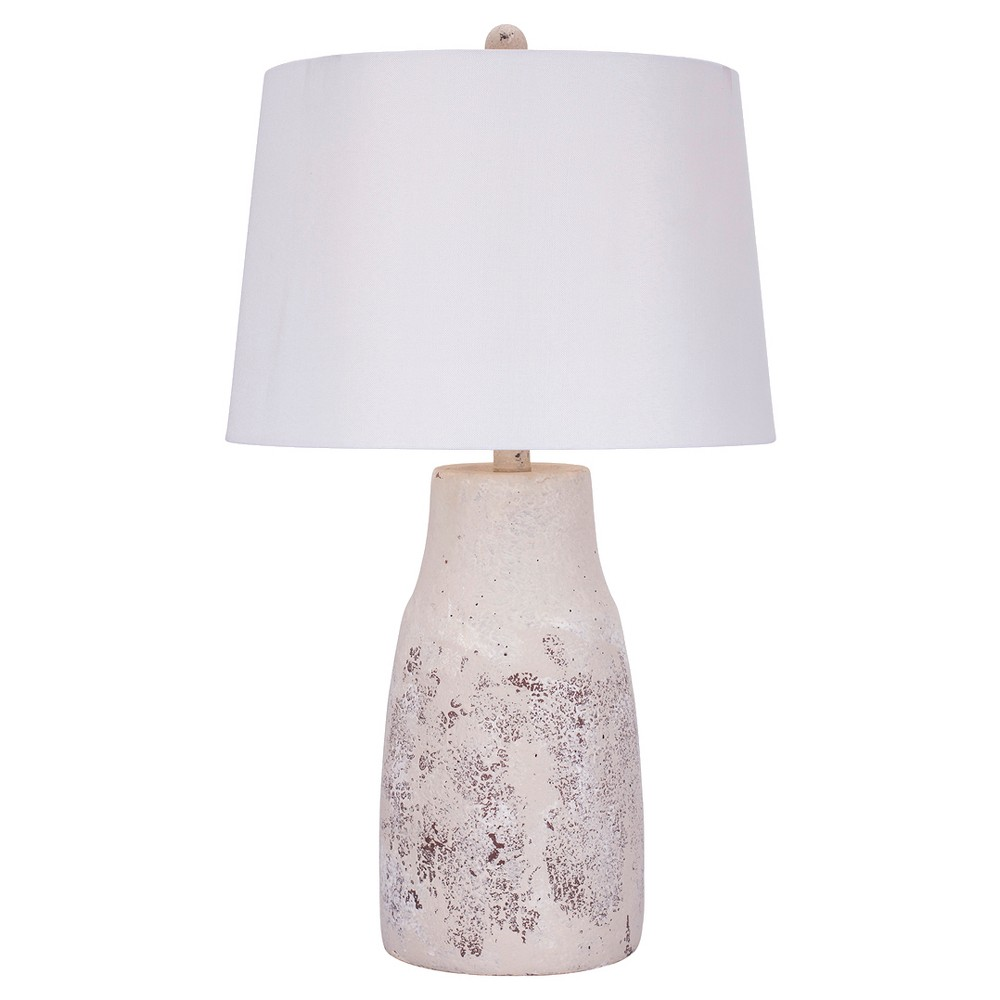 Nature Ceramic Table Lamp - 26H - Distressed White, Natural