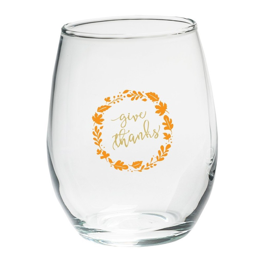 4ct Kate Aspen Give Thanks Stemless Wine Glass, Clear