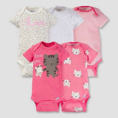 Baby Girls' 5pk Onesies® Bodysuit - Kitty Coral Baby - Gerber®
