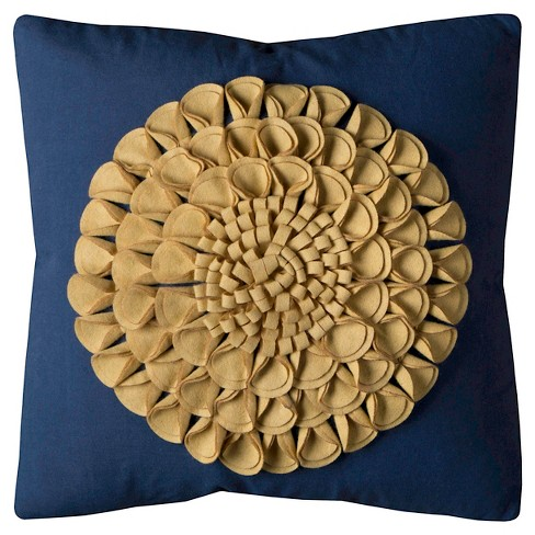 Navygold Floral Motif Throw Pillow 20x20 Rizzy Home Target