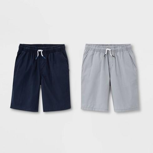 Boys' 2pk Pull-On Woven Shorts - Cat & Jack™ Navy/Gray - image 1 of 2