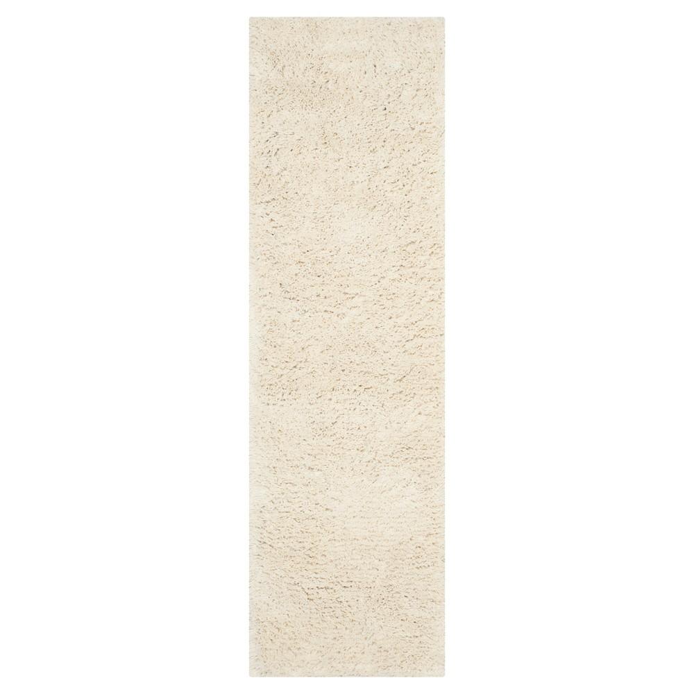 White Solid Shag and Flokati Tufted Runner 2'3X8' - Safavieh