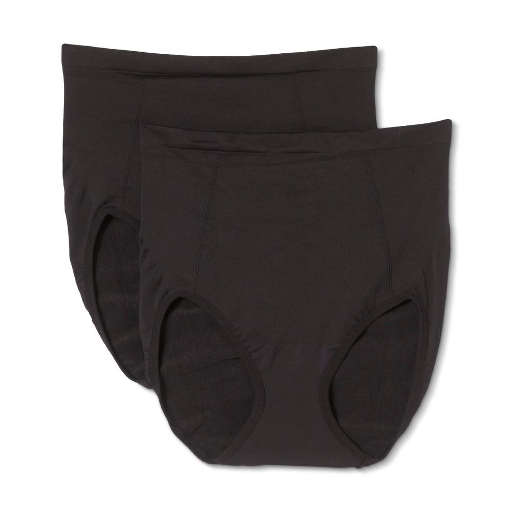 Bali Women's Seamless Brief with Tummy Panel Ultra Control 2pk - Black XL