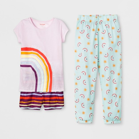 Girls' Rainbow 3pc Pajama Set - Cat & Jack™ Pink - image 1 of 1