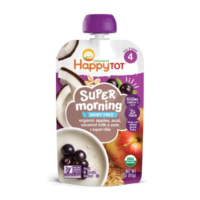 HappyTot Super Morning Organic Apples Acai Coconut Milk & Oats with Super Chia Baby Food Pouch - 4oz