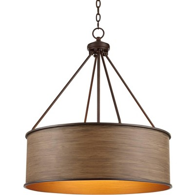 "Franklin Iron Works Oil Rubbed Bronze Drum Pendant Chandelier 24 3/4"" Wide Farmhouse Faux Wood Shade Fixture for Dining Room House"