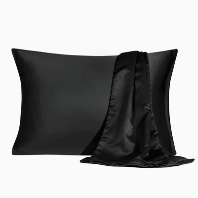 2 Packs King Size Zippered Silky Satin Pillowcases Pillow Cases Covers Black - PiccoCasa