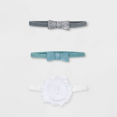 Baby Girls' 3pk Mini Bows & Rosette Headwrap - Cloud Island™