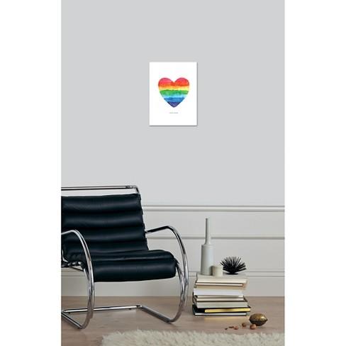 Love Wins Watercolor Rainbow Heart by Brett Wilson Unframed Wall Art ...