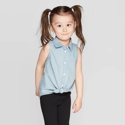Toddler Girls' Sleeveless Button-Down Shirt - Cat & Jack™ Blue 12M