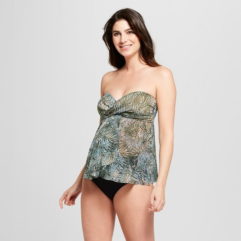 Maternity Bandeau Mesh Flyaway Tankini - Isabel Maternity by Ingrid & Isabel™ Green Palm - image 1 of 4