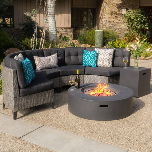 Navagio 6pc Wicker Half Round Sofa Set And Fire Table Christopher Knight Home Target
