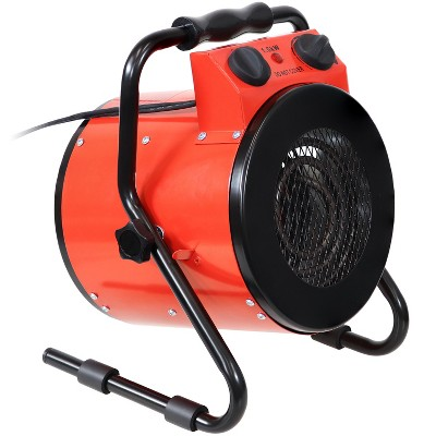Sunnydaze Indoor Personal Portable Electric Home Space Heater with Carrying Handle - 1500 Watt - Red and Black