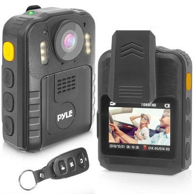 Pyle PPBCM92 Compact Portable 1296p HD Wireless Waterproof Night Vision Police Body Camera with HDMI Interface, Remote Control, and Voice Recording