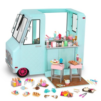 "Our Generation Sweet Stop Ice Cream Truck with Electronics for 18"" Dolls - Light Blue"