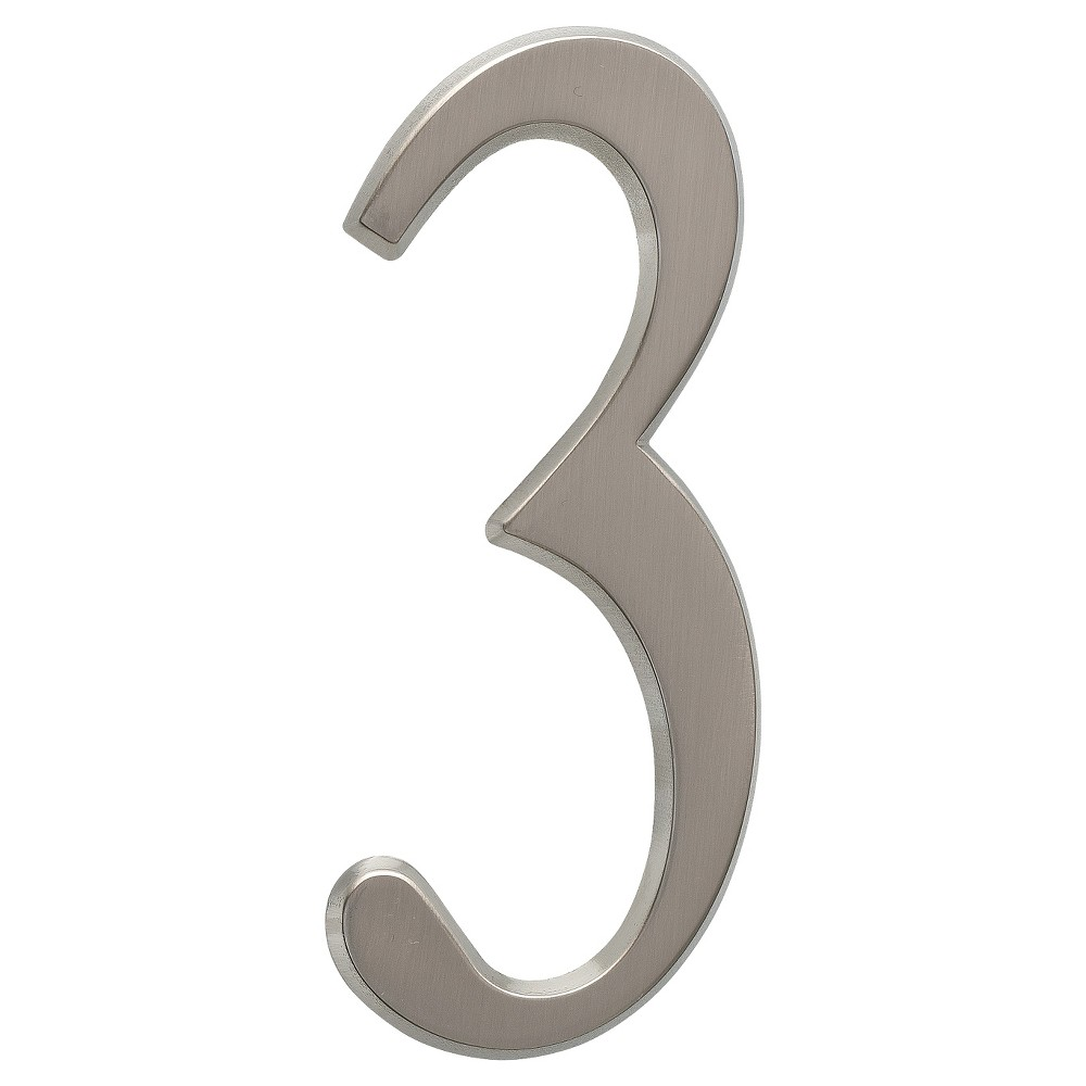"Image of ""4.75"""" Metal Number 3 - Brushed Nickel - Whitehall Products, Silver"""