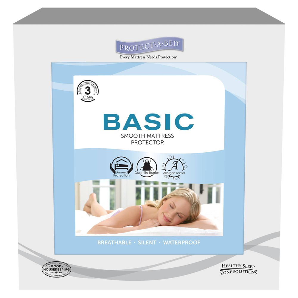 Image of Basic Fitted Sheet Style Mattress Protector White (King) - PROTECT-A-BED