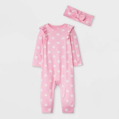 Baby Girls' Heart Rib Romper with Headband - Cat & Jack™ Pink/White 3-6M