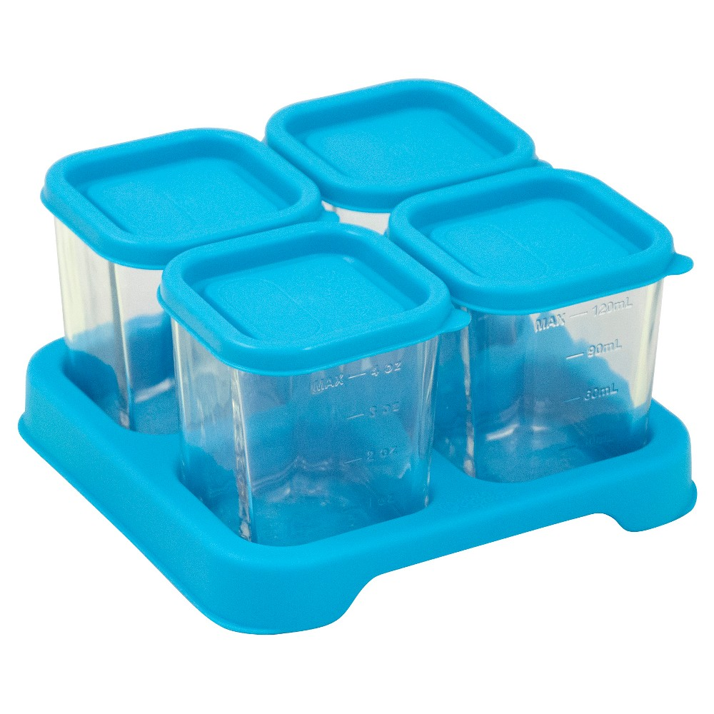 Image of green sprouts Fresh Baby Food Glass Cubes 4oz (4pk) - Aqua, Blue