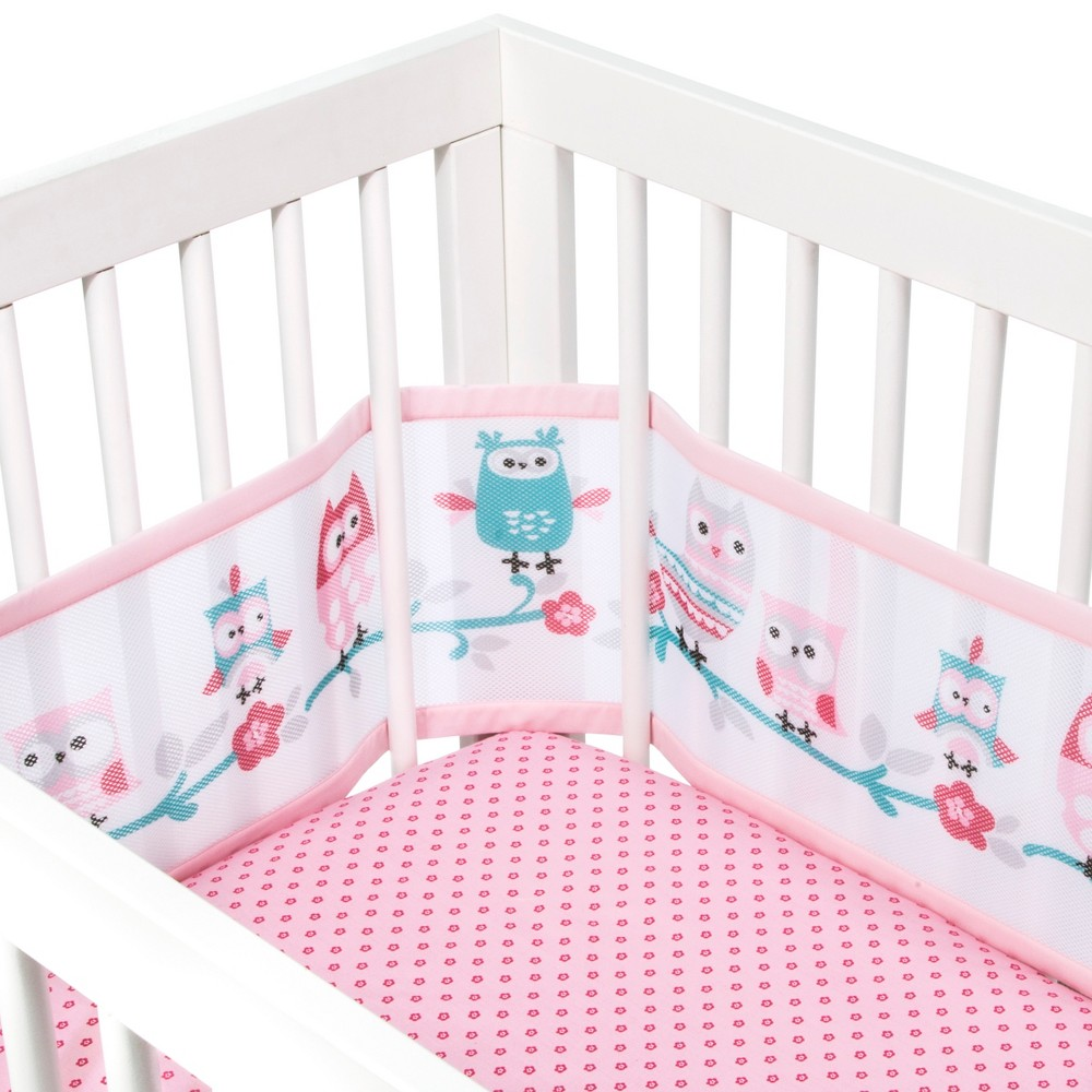 BreathableBaby 3pc Bedding Set - Pink Our Breathable Crib Bedding Sets are a simple solution for a safe and stylish nursery. Each set includes our parent-loved-and-trusted Breathable Mesh Crib Liner along with 2 coordinating fashion crib sheets. Our liners are independently tested for safety, our top priority, and smartly adjust to fit four-sided slatted and solid-back cribs. Remove liner when your baby can sit up unaided or pull up to a standing position, whichever comes first. Crib liners for solid-end cribs and mini cribs sold separately. Color: Pink. Gender: Female. Pattern: Owl.