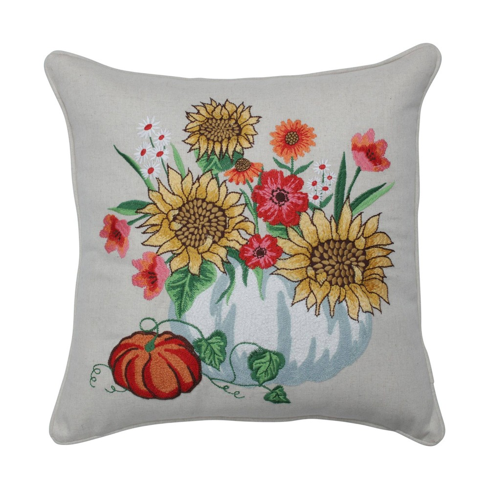 Image of Harvest Bouquet Embroidered Throw Pillow - Pillow Perfect, Green Yellow Orange