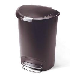simplehuman 50L Semi Round Plastic Step Trash Can