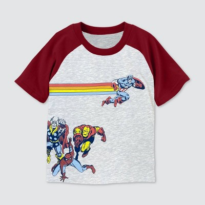 Toddler Boys' Marvel Short Sleeve Raglan Graphic T-Shirt - Burgundy