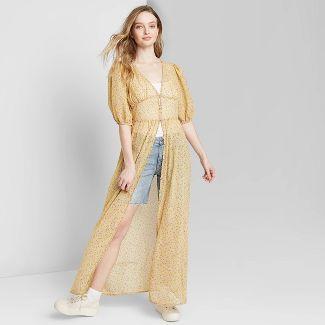 Women's Floral Print Elbow Sleeve Button-Front Duster Kimono - Wild Fable™ Beige L