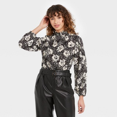 Women's Floral Print Balloon Long Sleeve Cascade Ruffle Top - Who What Wear™
