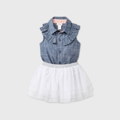 Baby Girls' Chambray Tutu Top & Bottom Set with Headband - Cat & Jack™ Blue 18M