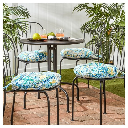 4pk 15 Painted Paisley Outdoor Bistro Chair Cushions Greendale