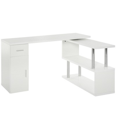 HomCom L-Shaped Rotating Computer Desk Workstation with Storage Shelves, Cabinet and Drawer