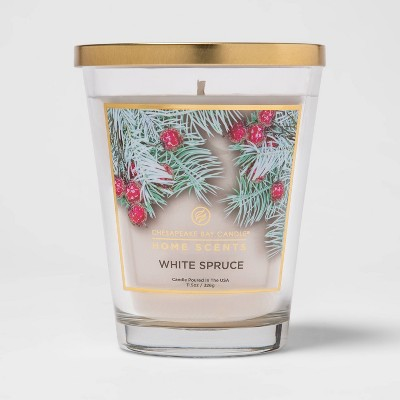 11.5oz Lidded Glass Jar White Spruce Candle - Home Scents By Chesapeake Bay Candle